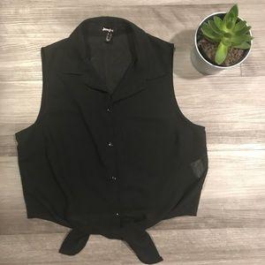 Black tie-up top